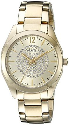Women's Wrist Watches - Caravelle New York Womens 44L159 Analog Display Analog Quartz Yellow Watch *** Learn more by visiting the image link.