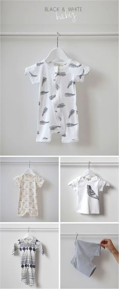 black and white cotton baby growsuits