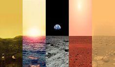 Venus, Earth, Moon, Mars And Titan