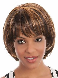The wig is a short, synthetic bob style wig.