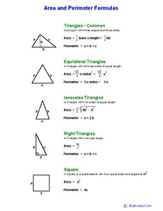 Area and Perimeter Worksheets Geometry Formulas, Mathematics Geometry, Geometry Worksheets, Math Formulas, Area And Perimeter Formulas, Area And Perimeter Worksheets, Praxis Core Math, Math Cheat Sheet, Cheat Sheets