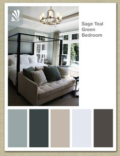 Sage, Cream, Oil Gray and Teal Green Color Palette. Soothing bedroom colors. The middle one for our bedroom, the blues for the two bathrooms. love the couch