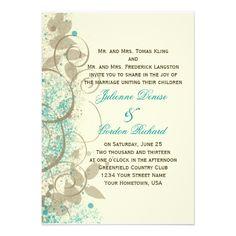 Teal Tan Grunge Swirls Leaves Wedding Invitation