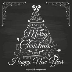 Met de hand beschilderd kerstboom op blackboard Gratis Vector