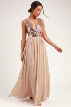 bf961203797 8 Best Champagne Maxi Bridesmaid Dresses images