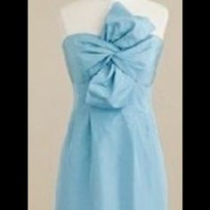 J Crew Light Blue Monde Bow Dress Fitted and flattering strapless silhouette highlighted with a dramatic twisted bow on the bodice. Excellent condition! Silk taffeta material. J. Crew Dresses