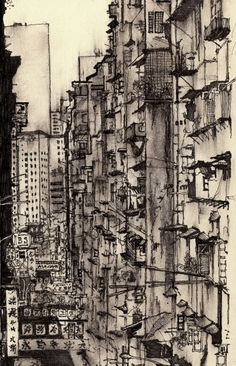 This painting brings me to the ghettos of Asia such as Kowloon walled city. The feeling of eternally oppressive concrete all around the reek of humanity. I love the possible universe contained here and wish I could explore it.