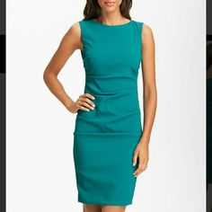 Nicole Miller Lauren Ponte dress in teal??sale Attract attention and capture the crowd's eye in a curve hugging ponte dress from Nicole Miller, punctuated by all over ruching. Boat neck, sleeveless, ruched sides. Concealed zip back closure with hook-and-eye, mesh lining. Nicole Miller Dresses