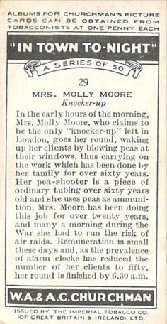 #29 Mrs Molly Moore Knocker-up Churchman In Town Tonigh