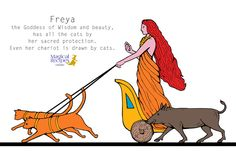 In Norse theology, Freya the Goddess of Beauty and Magic, has all the cats under her sacred protection. Even her chariot is drawn by cats (lovely huh?).