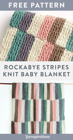 Free Rockabye Stripes Knit Baby Blanket pattern using Bernat Baby Blanket yarn. This artistic blanket is constructed of easy-to-knit garter stitch panels that are worked individually to create a unique, offset striping pattern. This soft and cushy project is perfect for baby's nap time and practicing garter stitch, color changes, and seaming techniques. #Yarnspirations #FreeKnitPattern #KnitAfghan #KnitThrow #KnitBlanket #BernatYarn #BernatBabyBlanket