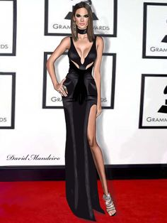 Alessandra Ambrosio in Atelier Versace at the 58th Annual Grammy Awards by David Mandeiro Illustrations.