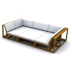 """Plush, deep cushions atop clean-lined solid teak frames that give the impression of visual lightness while the Maya's 6"""" wrap-around armrests allow ample space for drinks, yet are sturdy enough to sit on. This set creates a full daybed, providing ample space for lounging with a book or with someone special. The Maya 3 pc Teak Daybed Set features: 1 Left Side Maya Sectional, 1 Right Side Maya Sectional, 1 Maya Daybed Sectional."""