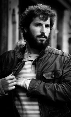 Bearded boy in leather