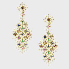 Wilfredo Rosado Alhambra earrings with diamonds, rubies, emeralds, and sapphires, $78,500 justoneeye.com -