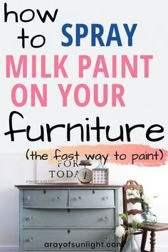 Quickly paint your furniture with a paint sprayer! Follow these must know tips when spraying milk paint (or chalk paint) with a paint sprayer. Perfect for furniture makeovers, thrift finds, home renovations, and farmhouse style furniture.