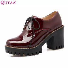 d5a6adcb 24.69 47% de DESCUENTO|QUTAA 2018 cuadrado negro de tacón alto de mujer PU  de cuero tobillo botas zapatos de mujer zapatos de encaje de la motocicleta  de ...