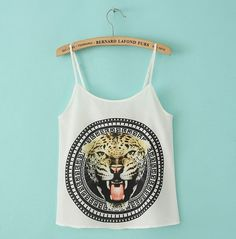 White chiffon camisole with leopard and medallion design.