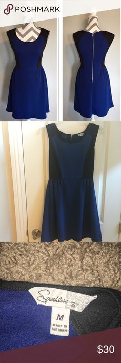 Speechless Blue & Black Skater Dress Never worn ! The pattern of this dress provides a slimming illusion, resulting in a flattering and classy look. Retail price was around $60, but I'm only asking for $30 Speechless Dresses Midi