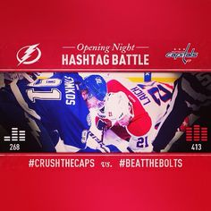 Caps are beating the Lightning in the Hashtag Battle. Share this photo to show your support! #BeatTheBolts
