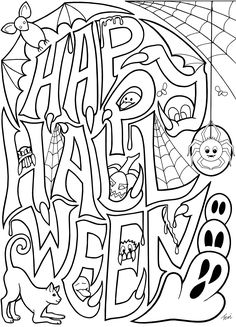 Free Adult Coloring Book Pages  #Happy #Halloween  by Blue Star Coloring
