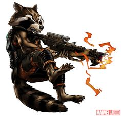 Marvel: Avengers Alliance: Rocket Racoon from the Guardians of the Galaxy New Uniform Lego Marvel, Marvel Vs, Marvel Heroes, Mundo Marvel, Comics Anime, Fun Comics, Marvel Comic Character, Marvel Characters, Rocket Raccoon Movie
