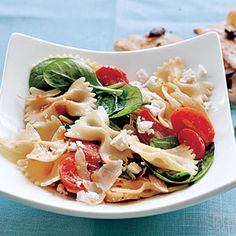 Farfalle with Tomatoes, Onions, and Spinach Recipe    I have been fixing this for a couple of years.  SO GOOD!