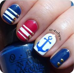Navy Blue and Red Nautical Nails With Anchor.