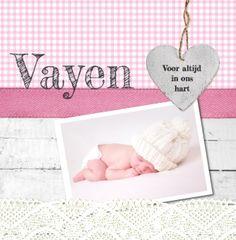Geboortekaartje | Vayen Lief, foto, meisje, hout