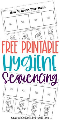 These Preschool Sequencing Worksheets are great for practicing creative thinking and problem solving skills as well as teaching little kids personal hygiene routines. Grab yours today!#preschool #sequencing #hygiene #personalcare Sequencing Worksheets, Printable Preschool Worksheets, Free Preschool, Preschool Themes, Worksheets For Kids, Free Printable, Sensory Activities Toddlers, Kids Learning Activities, Learning Shapes