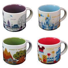 Starbucks Disney Parks Set of 4 Mugs Epcot Magic Kingdom Hollywood Studios Animal Kingdom You Are Here Collection