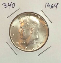 1964 KENNEDY HALF DOLLAR  90% SILVER CIRCULATED SILVER COIN #340