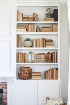 Antique Brick and White Molding Fireplace Makeover - Maison de Pax Unique Bookshelves, Styling Bookshelves, White Bookshelves, Fireplace Bookshelves, Decorating Bookshelves, Bookshelf Design, Brick Fireplace, Glass Bookshelves, Bookshelf Ideas