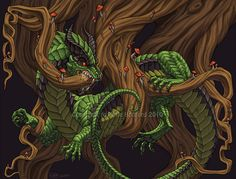 Nidhogg - A Norse dragon who eats the roots of the World Tree, Yggdrasill and a threat to the tree's destruction