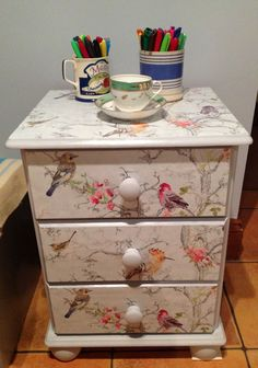 This is an old pine bedside table that I've had for about 15 years. I mixed the paint colour myself to create the blue grey colour. Then I used left over wallpaper and used it on the drawer fronts and top. I stuck it down with craft (pva) glue and painted Decoupage Furniture, Hand Painted Furniture, Paint Furniture, Repurposed Furniture, Shabby Chic Furniture, Furniture Projects, Furniture Makeover, Wallpaper On Furniture, Wallpaper Drawers
