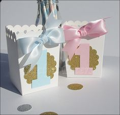 #Twins #FirstBirthday #Popcorn Favor #Boxes by www.jaclynpeters.com
