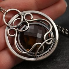 Toledo - Wire wrapped pendant with Cognac Quartz handmade in sterling silver by mgypsy.