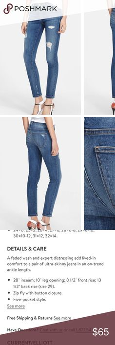 Current/Elliot Stiletto Jeans in Niagara Destroy Size 26 Current/Elliot Jeans in Niagara Destroy wash. Like new condition! Purchased from Nordstrom where they currently retail new at $238. Current/Elliott Jeans Ankle & Cropped