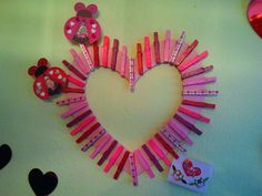 Clothes Pin Wreath To Display All The Valentines From Cupid & Your Secret Admirers.