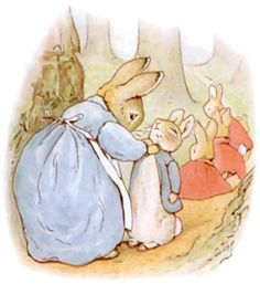 Colour illustration of Peter Rabbit with his family, from The Tale of Peter Rabbit, 1902.