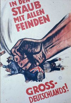 "translates as: ""Smash the Enemies of Greater Germany!"" A literal translation would be:"" Into Dust with All Enemies of Greater Germany."" This information was provided by Andreas Ehlers of Hamburg. The poster is courtesy of Dr. Robert D. Brooks.  http://www.bytwerk.com/gpa/posters3.htm"