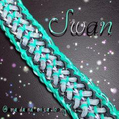 Rainbow Loom Swan Bracelet - designed by @eunicetheloomer and tutorial by @loves2loom