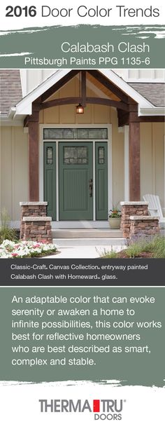 Calabash Clash by Pittsburgh Paints – one of the front door color trends for 2016 – shown here on a Therma-Tru Classic-Craft Canvas Collection door. Front Door Paint Colors, Painted Front Doors, Exterior Paint Colors, Paint Colors For Home, House Colors, Entryway Paint, Shutter Colors, Front Door Porch, Exterior Doors