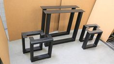 Set of 2 Square Table legs and 4 Square Bench Legs Model