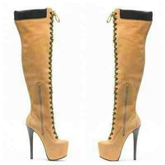 New Tan Thigh high hiking boots Wheat color, 6 in heel, platform, Thigh high, side zip, front lace up Shoes
