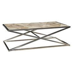 The crossed leg base on the Sloane Elliot Houdini Stainless Steel Coffee Table adds instant visual interest to your modern living room. Solid Wood Furniture, Home Decor Furniture, Home Furnishings, Stainless Steel Coffee Table, Coffe Table, Cocktail Tables, Loft, Design Ideas, Products