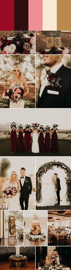 "The burgundy, red, and pink tones in these romantic wedding color palettes will help you transform any venue into the perfect place to say ""I do!"""
