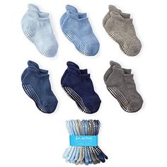7 Pairs Baby Socks Anti Slip Non Skid/Newborn Infant Cute Baby Ankle Cotton Socks with Grips for Baby Toddler Kids Boys Girls