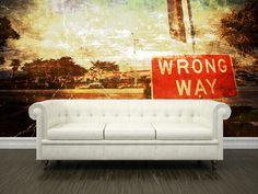 Eazywallz  - Vintage wrong way  sign Wall Mural, $129.00 (http://www.eazywallz.com/vintage-wrong-way-sign-wall-mural/)