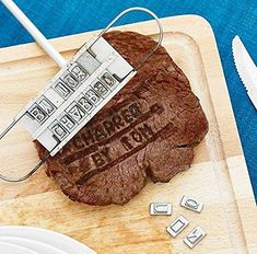 This BBQ Branding Iron is a high quality BBQ tool that includes 55 letters and 8 spaces, allowing you to brand your meat masterpieces with your name or custom message, just about anything you like! From 'Happy Birthday' to 'The Best Dad', the possibilities are endless. Available @ Amazon Bbq Steak, Meat Steak, Barbecue Grill, Barbecue Design, Iron Tools, Branding Iron, Cake Branding, Summer Barbecue, Bbq Tools